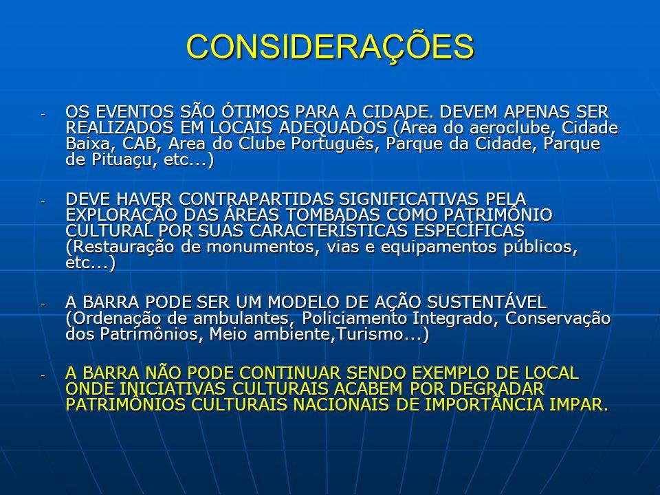 CONSIDERAÇÕES - OS EVENTOS SÃO ÓTIMOS PARA A CIDADE. DEVEM APENAS SER REALIZADOS EM LOCAIS ADEQUADOS (Área do aeroclube, Cidade Baixa, CAB, Area do Cl