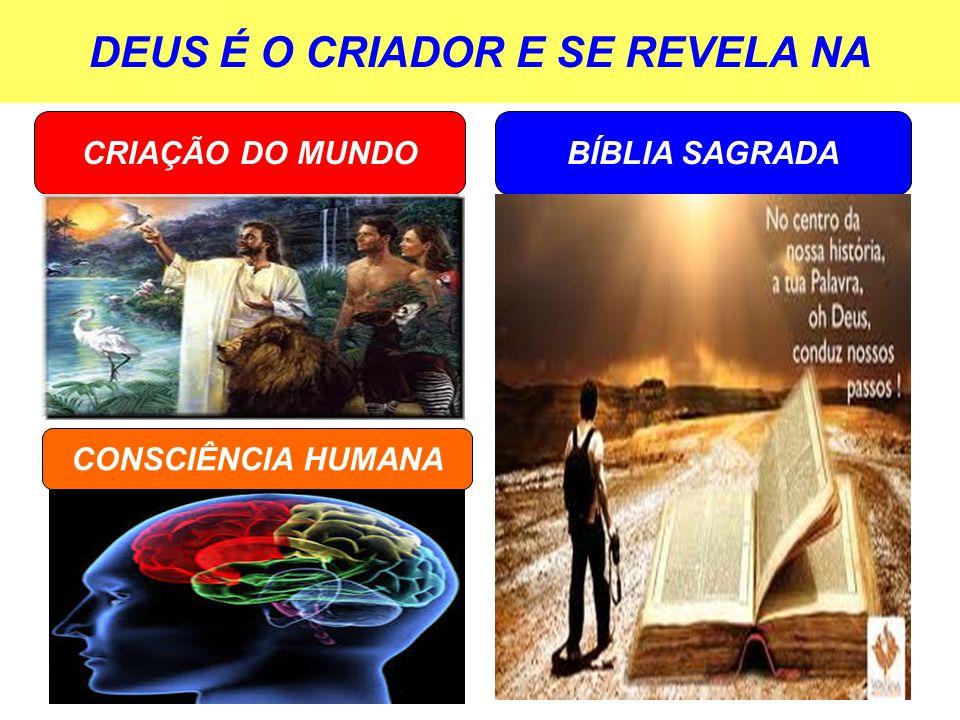 DEUS É O CRIADOR E SE REVELA NA BÍBLIA SAGRADACRIAÇÃO DO MUNDO CONSCIÊNCIA HUMANA