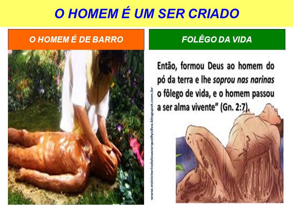 O HOMEM É UM SER CRIADO FOLÊGO DA VIDAO HOMEM É DE BARRO