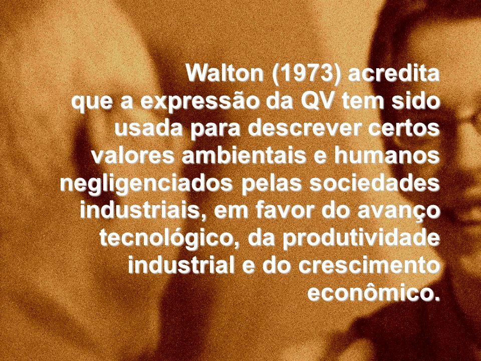 Walton (1973) acredita que a expressão da QV tem sido usada para descrever certos valores ambientais e humanos negligenciados pelas sociedades industr