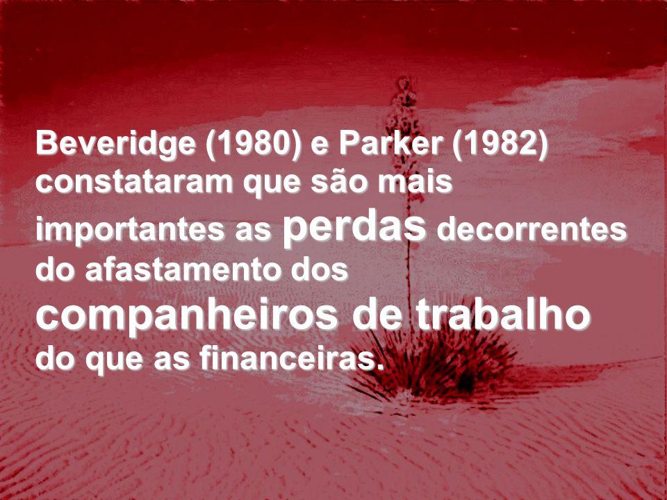 Beveridge (1980) e Parker (1982) constataram que são mais importantes as perdas decorrentes do afastamento dos companheiros de trabalho do que as fina