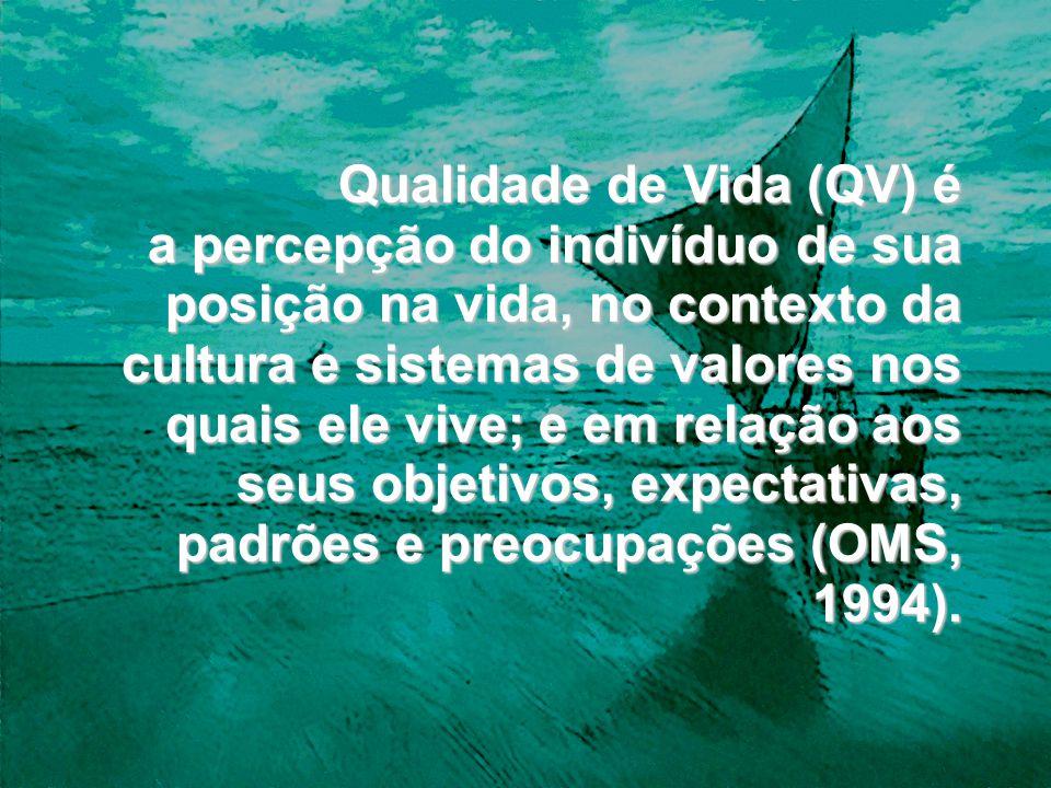 Qualidade de Vida (QV) é a percepção do indivíduo de sua posição na vida, no contexto da cultura e sistemas de valores nos quais ele vive; e em relaçã