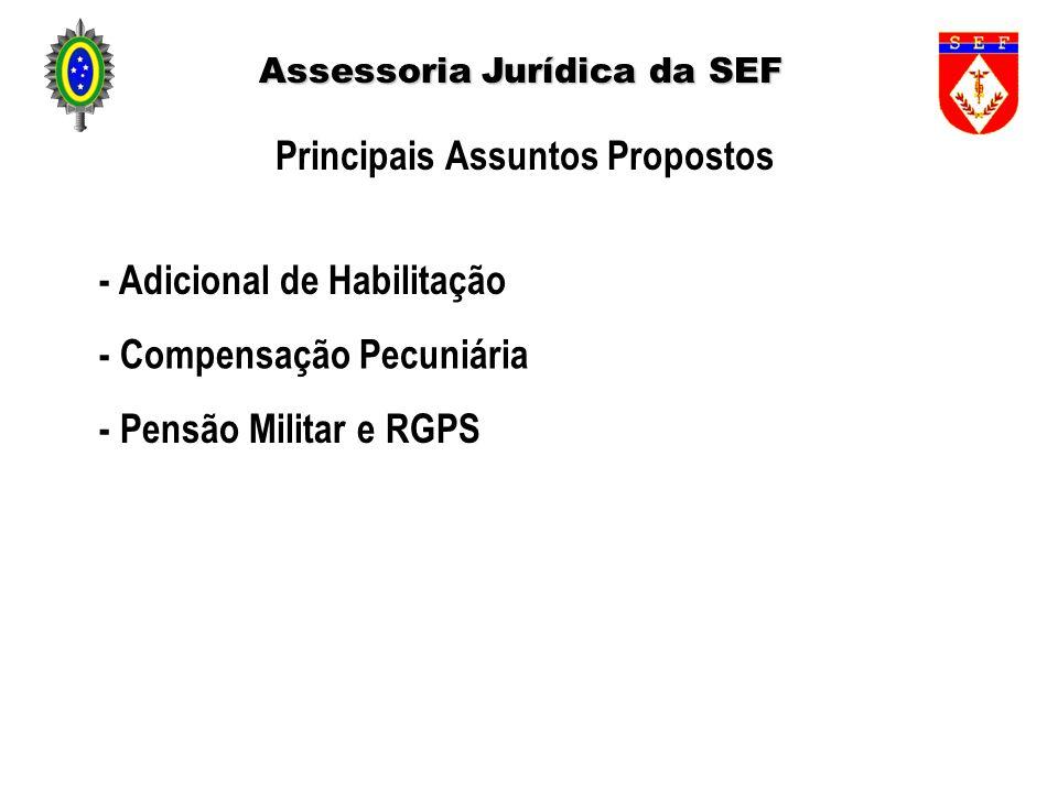 Assessoria Jurídica da SEF Principais Assuntos Propostos - Adicional de Habilitação - Compensação Pecuniária - Pensão Militar e RGPS
