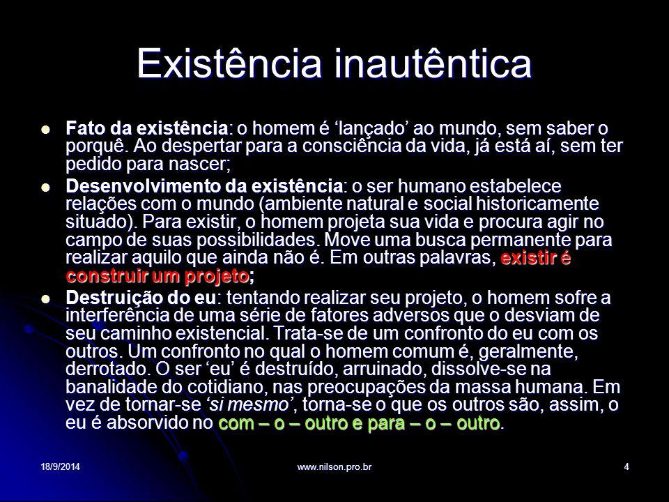 Existência inautêntica Fato da existência: o homem é 'lançado' ao mundo, sem saber o porquê. Ao despertar para a consciência da vida, já está aí, sem