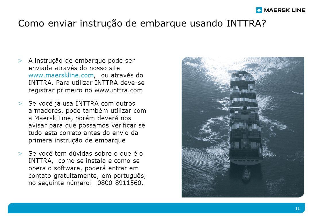 11 Como enviar instrução de embarque usando INTTRA.