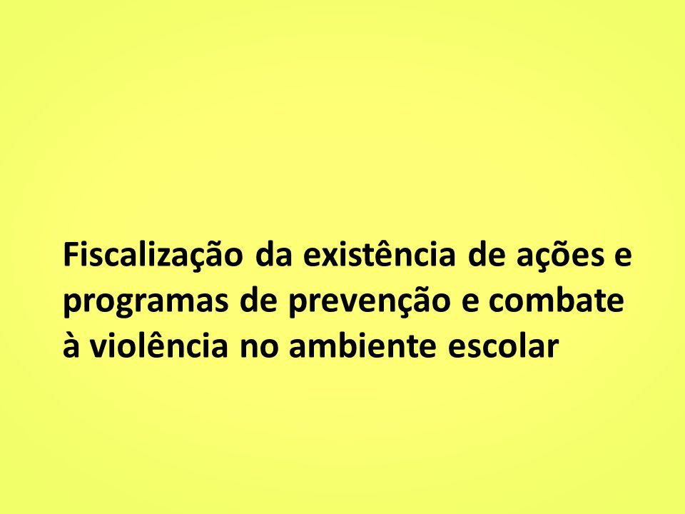 Fiscalização da existência de ações e programas de prevenção e combate à violência no ambiente escolar