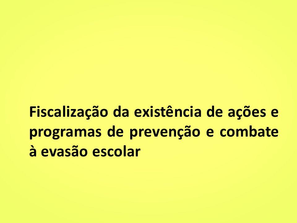 Fiscalização da existência de ações e programas de prevenção e combate à evasão escolar