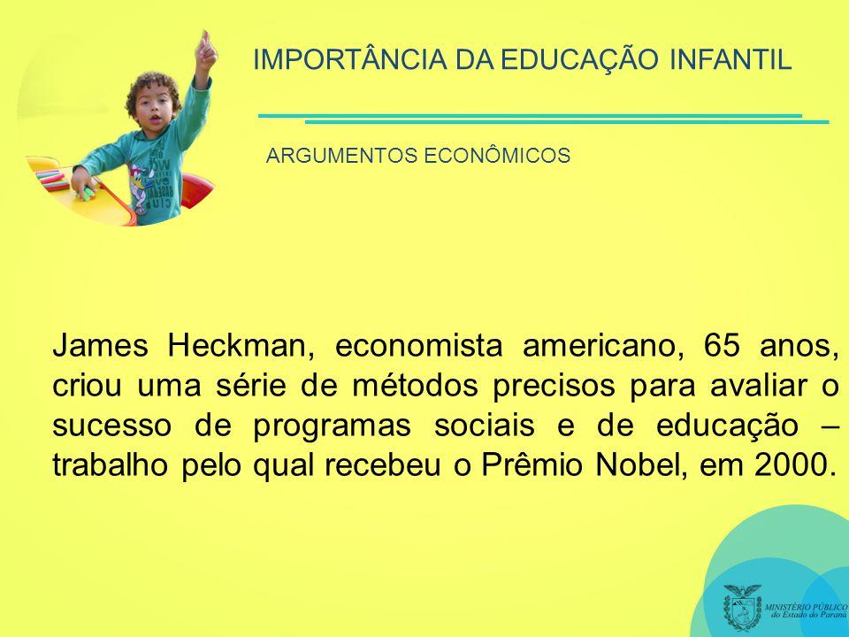 IMPORTÂNCIA DA EDUCAÇÃO INFANTIL ARGUMENTOS ECONÔMICOS James Heckman, economista americano, 65 anos, criou uma série de métodos precisos para avaliar o sucesso de programas sociais e de educação – trabalho pelo qual recebeu o Prêmio Nobel, em 2000.
