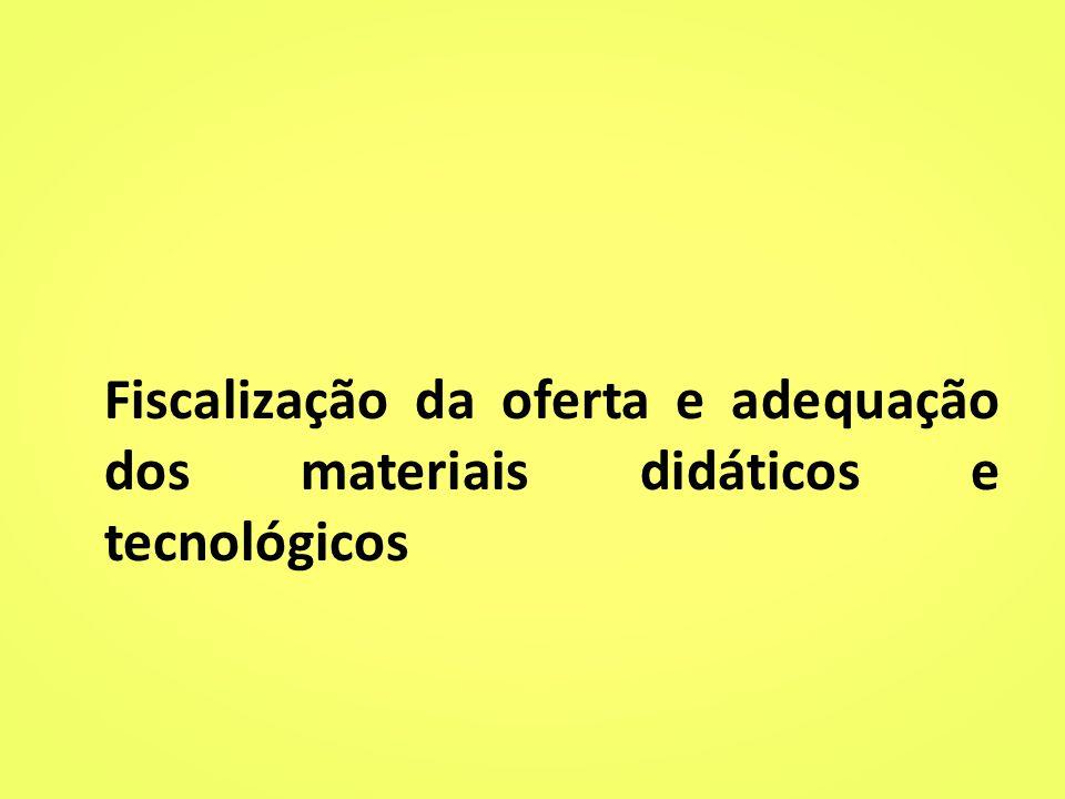 Fiscalização da oferta e adequação dos materiais didáticos e tecnológicos