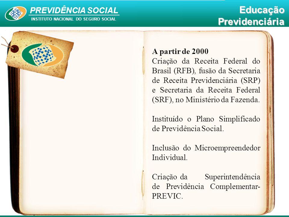PREVIDÊNCIA SOCIAL INSTITUTO NACIONAL DO SEGURO SOCIAL EducaçãoPrevidenciária A partir de 2000 Criação da Receita Federal do Brasil (RFB), fusão da Se