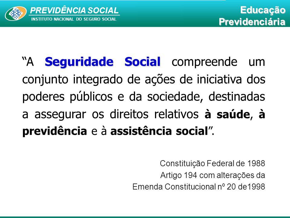 """PREVIDÊNCIA SOCIAL INSTITUTO NACIONAL DO SEGURO SOCIAL EducaçãoPrevidenciária Seguridade Social """"A Seguridade Social compreende um conjunto integrado"""