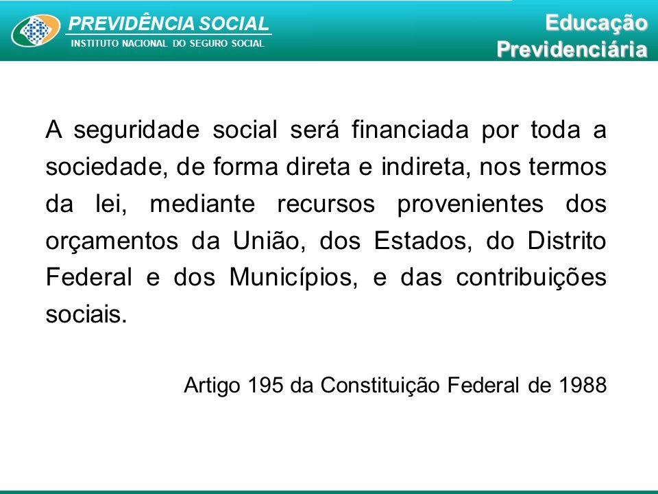 PREVIDÊNCIA SOCIAL INSTITUTO NACIONAL DO SEGURO SOCIAL EducaçãoPrevidenciária A seguridade social será financiada por toda a sociedade, de forma diret