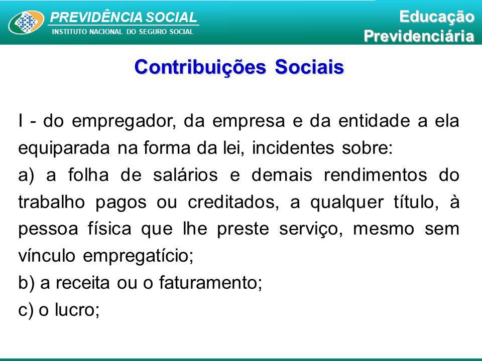 PREVIDÊNCIA SOCIAL INSTITUTO NACIONAL DO SEGURO SOCIAL EducaçãoPrevidenciária Contribuições Sociais I - do empregador, da empresa e da entidade a ela