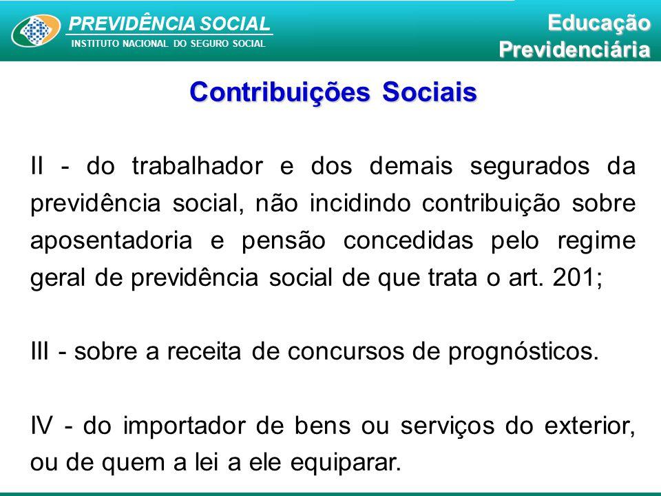 PREVIDÊNCIA SOCIAL INSTITUTO NACIONAL DO SEGURO SOCIAL EducaçãoPrevidenciária Contribuições Sociais II - do trabalhador e dos demais segurados da prev