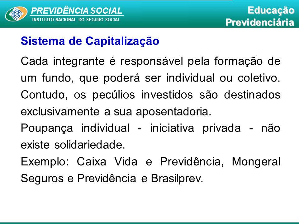 PREVIDÊNCIA SOCIAL INSTITUTO NACIONAL DO SEGURO SOCIAL EducaçãoPrevidenciária Sistema de Capitalização Cada integrante é responsável pela formação de