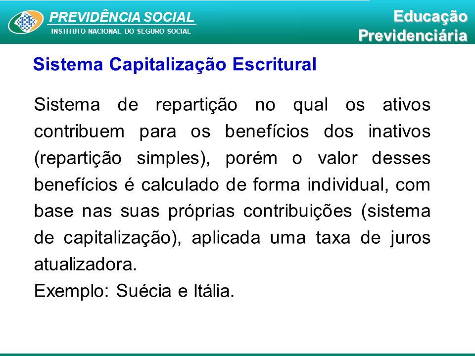 PREVIDÊNCIA SOCIAL INSTITUTO NACIONAL DO SEGURO SOCIAL EducaçãoPrevidenciária Sistema Capitalização Escritural Sistema de repartição no qual os ativos