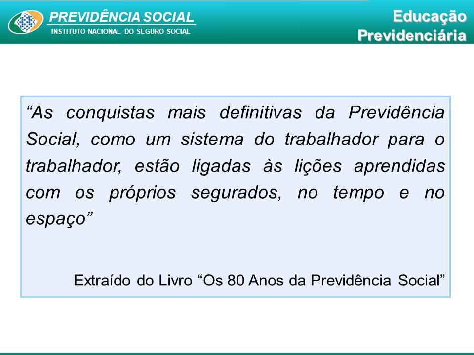 """PREVIDÊNCIA SOCIAL INSTITUTO NACIONAL DO SEGURO SOCIAL EducaçãoPrevidenciária """"As conquistas mais definitivas da Previdência Social, como um sistema d"""