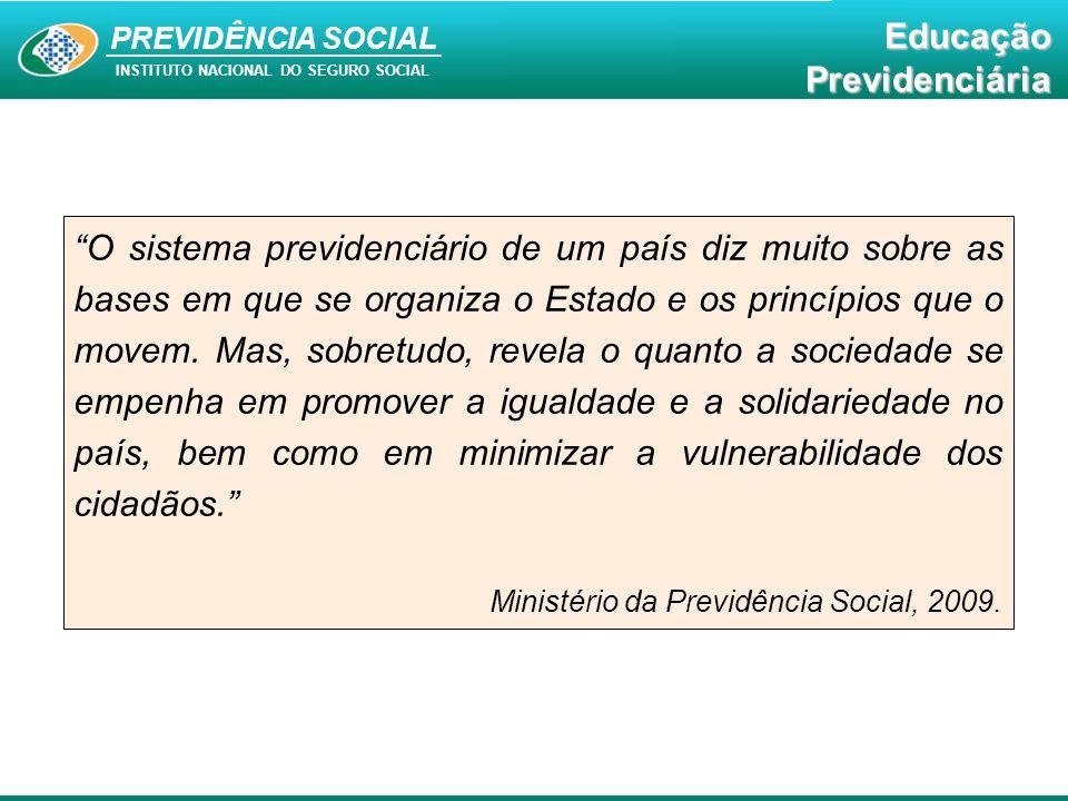 """PREVIDÊNCIA SOCIAL INSTITUTO NACIONAL DO SEGURO SOCIAL EducaçãoPrevidenciária """"O sistema previdenciário de um país diz muito sobre as bases em que se"""
