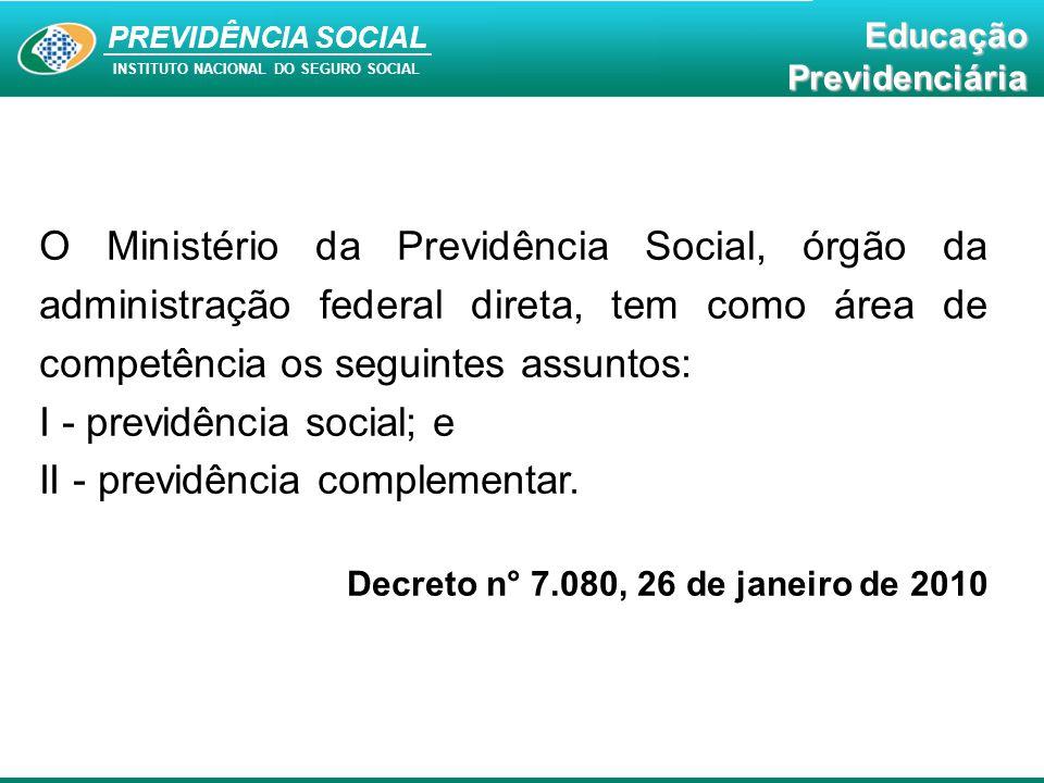 PREVIDÊNCIA SOCIAL INSTITUTO NACIONAL DO SEGURO SOCIAL EducaçãoPrevidenciária O Ministério da Previdência Social, órgão da administração federal diret