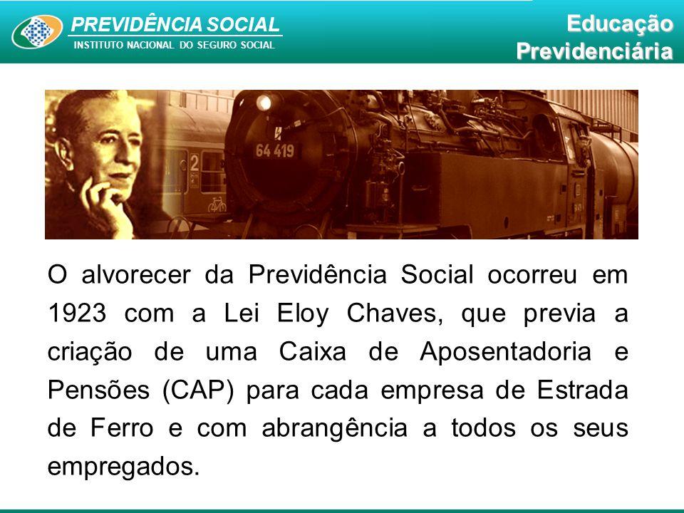 PREVIDÊNCIA SOCIAL INSTITUTO NACIONAL DO SEGURO SOCIAL EducaçãoPrevidenciária O alvorecer da Previdência Social ocorreu em 1923 com a Lei Eloy Chaves,