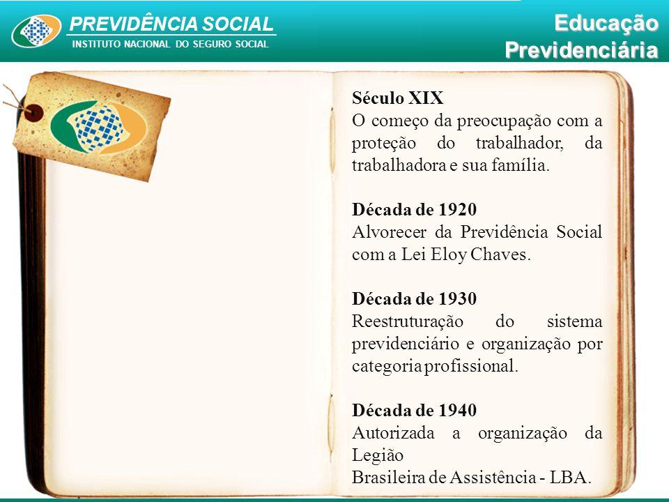 PREVIDÊNCIA SOCIAL INSTITUTO NACIONAL DO SEGURO SOCIAL EducaçãoPrevidenciária Século XIX O começo da preocupação com a proteção do trabalhador, da tra