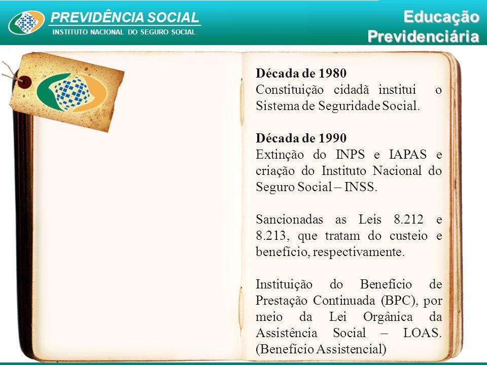 PREVIDÊNCIA SOCIAL INSTITUTO NACIONAL DO SEGURO SOCIAL EducaçãoPrevidenciária Década de 1980 Constituição cidadã institui o Sistema de Seguridade Soci