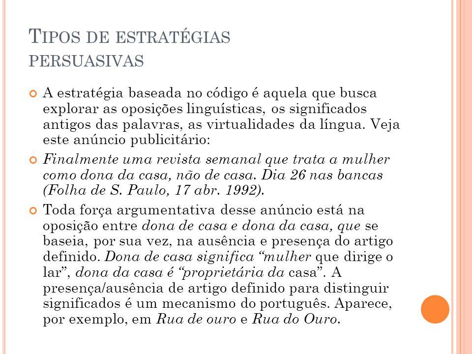 T IPOS DE ESTRATÉGIAS PERSUASIVAS A estratégia baseada no código é aquela que busca explorar as oposições linguísticas, os significados antigos das palavras, as virtualidades da língua.