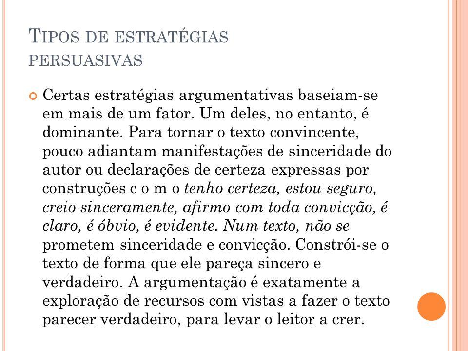 T IPOS DE ESTRATÉGIAS PERSUASIVAS Certas estratégias argumentativas baseiam-se em mais de um fator.