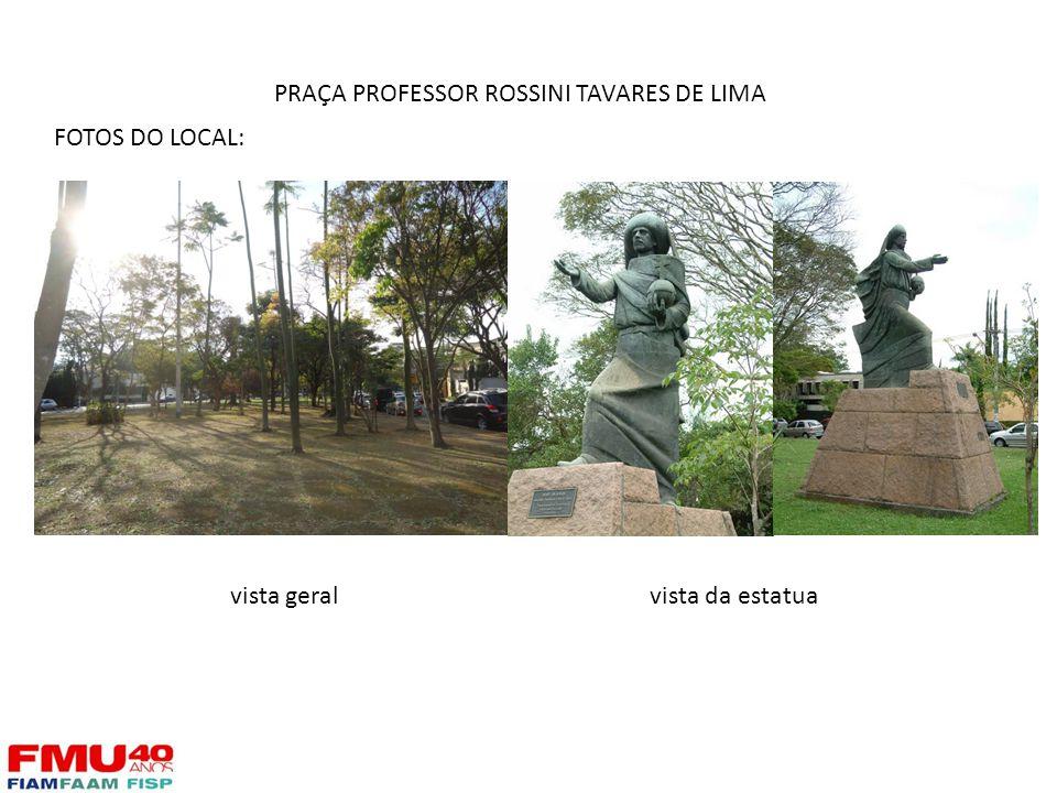 FOTOS DO LOCAL: vista geralvista da estatua PRAÇA PROFESSOR ROSSINI TAVARES DE LIMA
