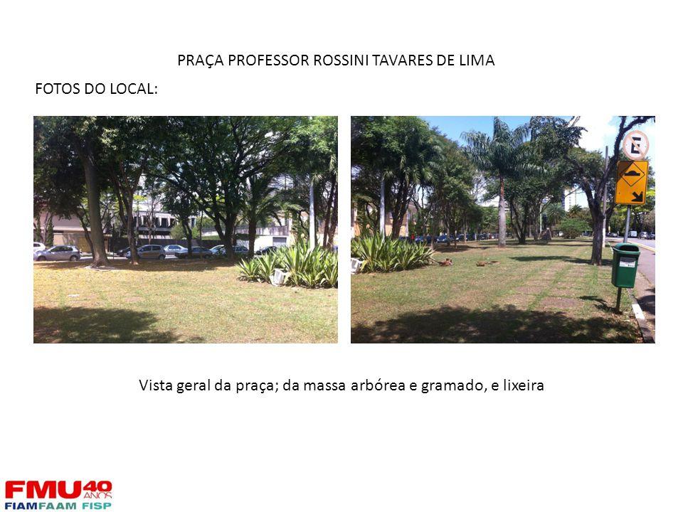 FOTOS DO LOCAL: Vista geral da praça; da massa arbórea e gramado, e lixeira PRAÇA PROFESSOR ROSSINI TAVARES DE LIMA