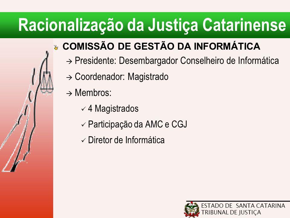 ESTADO DE SANTA CATARINA TRIBUNAL DE JUSTIÇA Racionalização da Justiça Catarinense COMISSÃO DE GESTÃO DA INFORMÁTICA  Presidente: Desembargador Conse