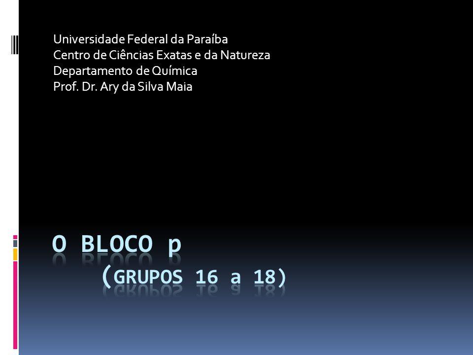 Universidade Federal da Paraíba Centro de Ciências Exatas e da Natureza Departamento de Química Prof.