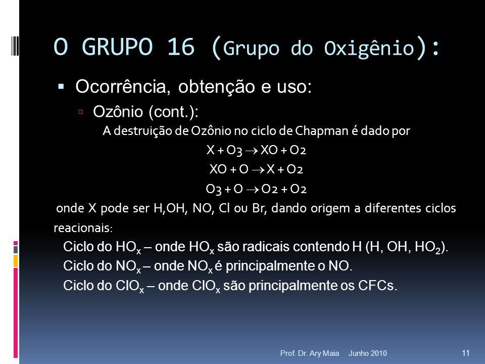 Junho 2010Prof. Dr. Ary Maia 11 O GRUPO 16 ( Grupo do Oxigênio ):  Ocorrência, obtenção e uso:  Ozônio (cont.): A destruição de Ozônio no ciclo de C