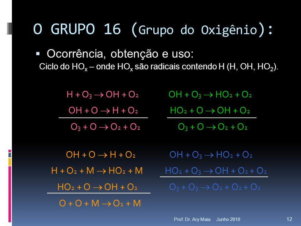 Junho 2010Prof. Dr. Ary Maia 12 O GRUPO 16 ( Grupo do Oxigênio ):  Ocorrência, obtenção e uso: Ciclo do HO x – onde HO x são radicais contendo H (H,