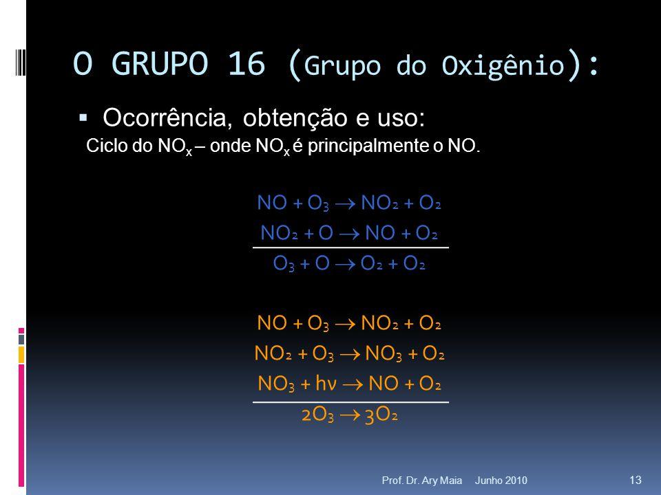 Junho 2010Prof. Dr. Ary Maia 13 O GRUPO 16 ( Grupo do Oxigênio ):  Ocorrência, obtenção e uso: Ciclo do NO x – onde NO x é principalmente o NO. NO +