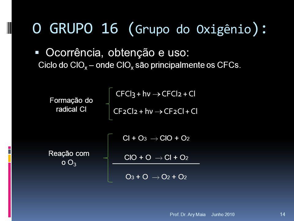Junho 2010Prof. Dr. Ary Maia 14 O GRUPO 16 ( Grupo do Oxigênio ):  Ocorrência, obtenção e uso: Ciclo do ClO x – onde ClO x são principalmente os CFCs
