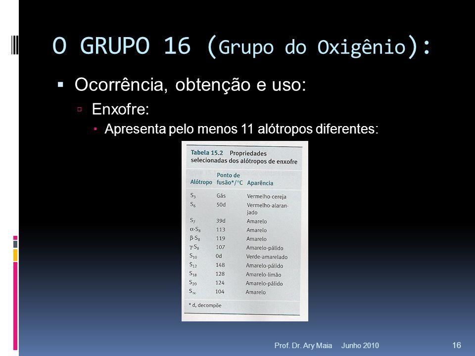 Junho 2010Prof. Dr. Ary Maia 16 O GRUPO 16 ( Grupo do Oxigênio ):  Ocorrência, obtenção e uso:  Enxofre:  Apresenta pelo menos 11 alótropos diferen
