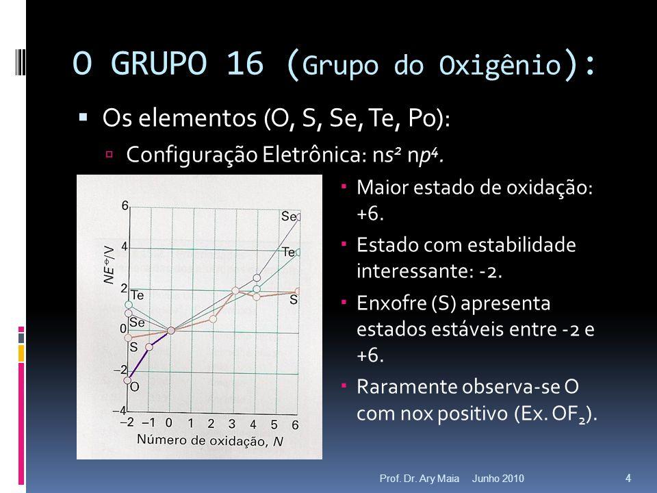 Junho 2010Prof. Dr. Ary Maia 4 O GRUPO 16 ( Grupo do Oxigênio ):  Os elementos (O, S, Se, Te, Po):  Configuração Eletrônica: ns 2 np 4.  Maior esta