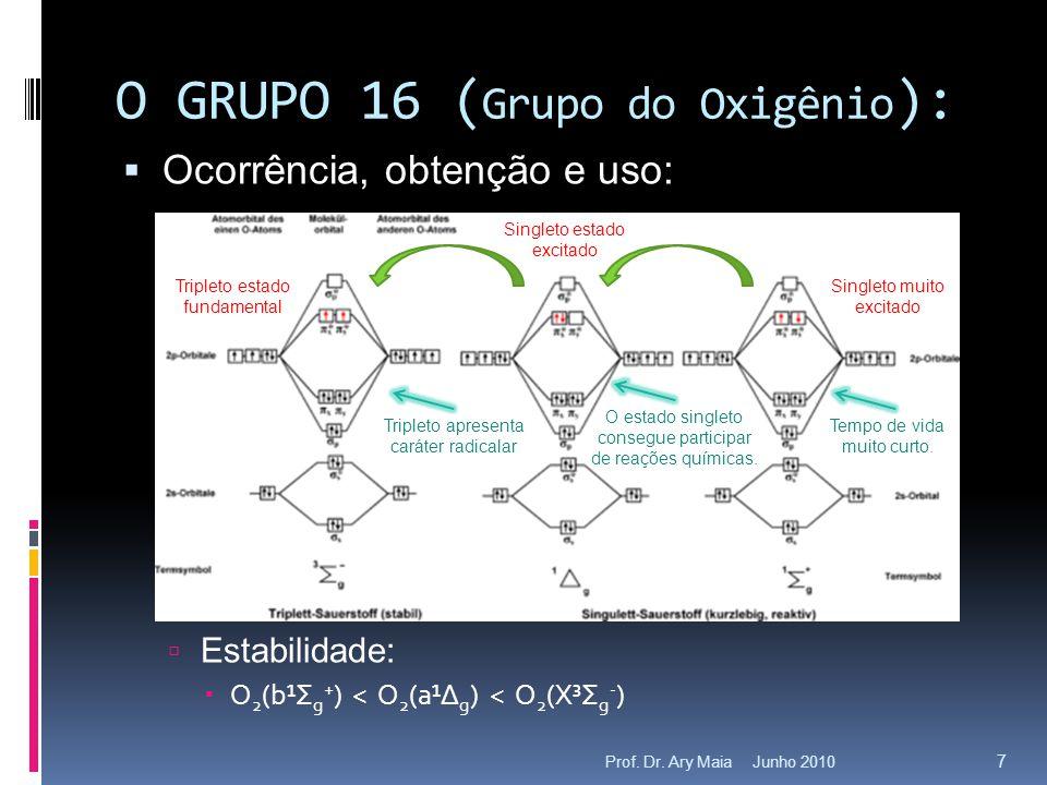 Junho 2010Prof. Dr. Ary Maia 7 O GRUPO 16 ( Grupo do Oxigênio ):  Ocorrência, obtenção e uso:  Estabilidade:  O 2 (b¹Σ g + ) < O 2 (a¹Δ g ) < O 2 (