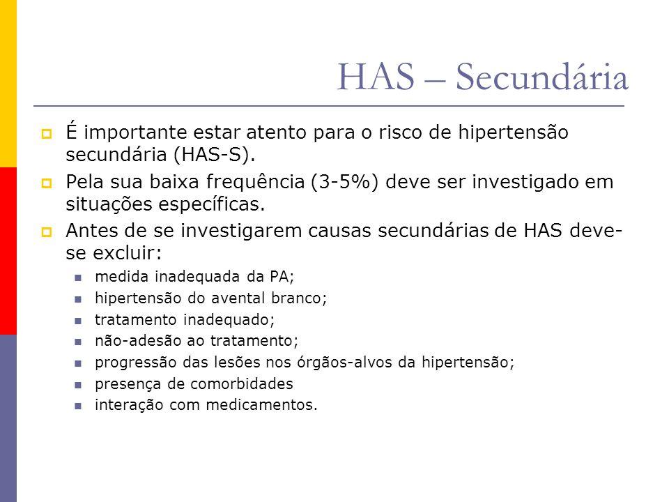  É importante estar atento para o risco de hipertensão secundária (HAS-S).  Pela sua baixa frequência (3-5%) deve ser investigado em situações espec