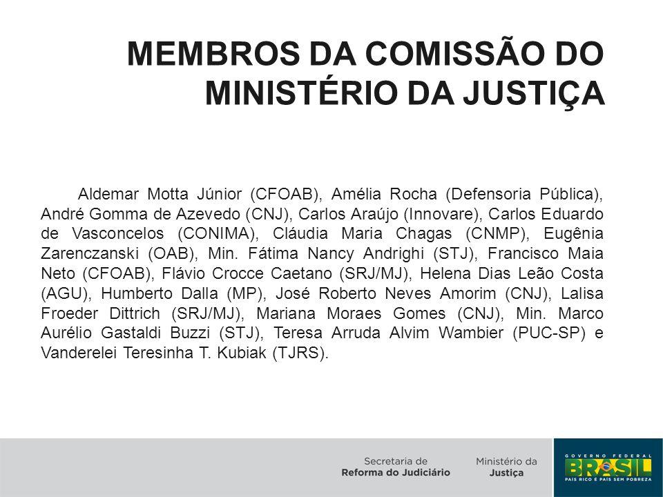 MEMBROS DA COMISSÃO DO MINISTÉRIO DA JUSTIÇA Aldemar Motta Júnior (CFOAB), Amélia Rocha (Defensoria Pública), André Gomma de Azevedo (CNJ), Carlos Ara