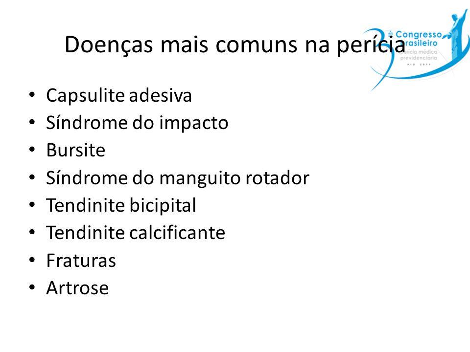 Doenças mais comuns na perícia Capsulite adesiva Síndrome do impacto Bursite Síndrome do manguito rotador Tendinite bicipital Tendinite calcificante F