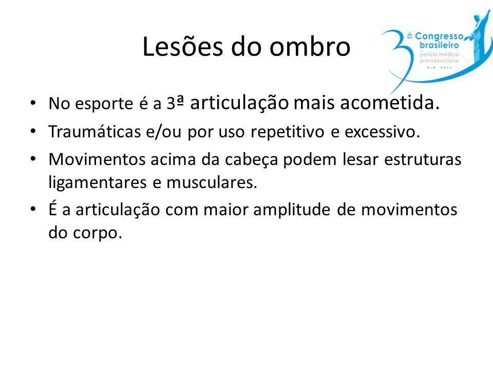 Lesões do ombro No esporte é a 3 ª articulação mais acometida. Traumáticas e/ou por uso repetitivo e excessivo. Movimentos acima da cabeça podem lesar