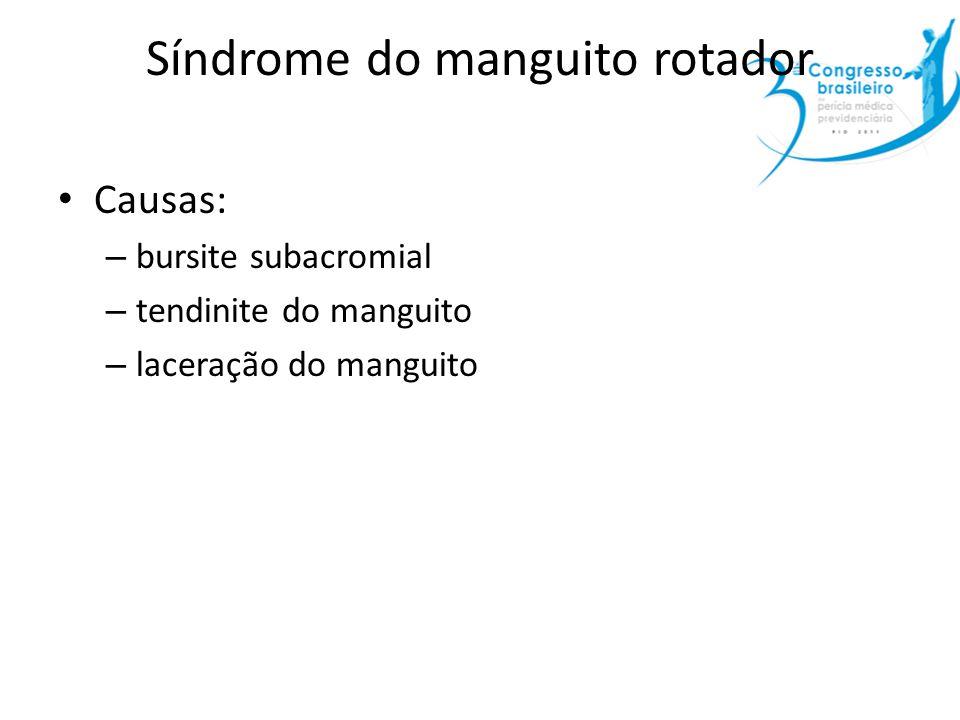 Síndrome do manguito rotador Causas: – bursite subacromial – tendinite do manguito – laceração do manguito