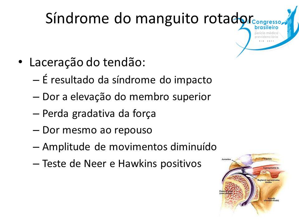 Síndrome do manguito rotador Laceração do tendão: – É resultado da síndrome do impacto – Dor a elevação do membro superior – Perda gradativa da força