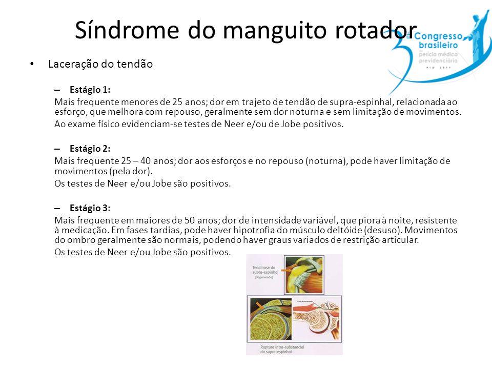 Síndrome do manguito rotador Laceração do tendão – Estágio 1: Mais frequente menores de 25 anos; dor em trajeto de tendão de supra-espinhal, relaciona