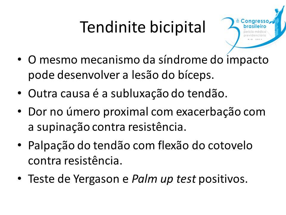 Tendinite bicipital O mesmo mecanismo da síndrome do impacto pode desenvolver a lesão do bíceps. Outra causa é a subluxação do tendão. Dor no úmero pr