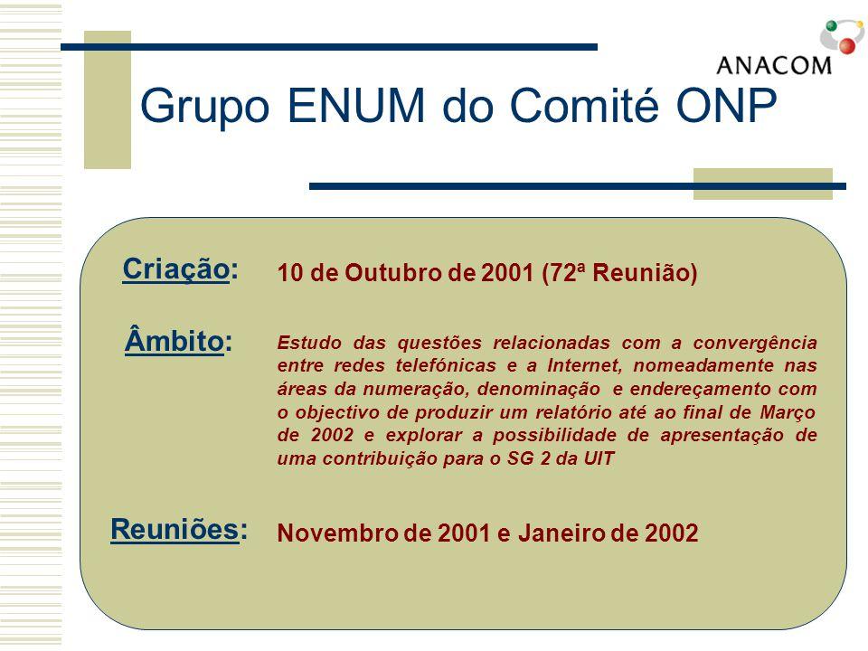 Grupo ENUM do Comité ONP Reunião de 23 de Novembro de 2001 Apresentações