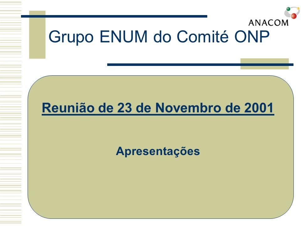 Grupo ENUM do Comité ONP IETF (Internet Engineering Task Force) oRFC 2916 aprovado formalmente em Setembro de 2000 oPreconiza a colocação dos números de telefone (E.164) no Sistema de Denominação de Domínios (DNS) oUtilização do domínio e164.arpa