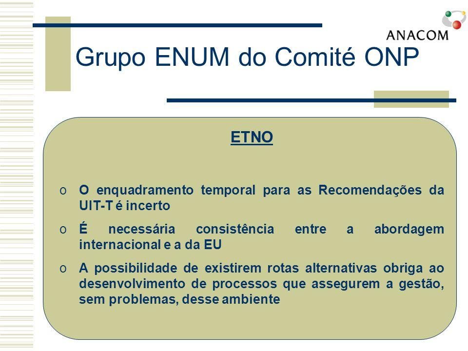 iii)Não deve existir presunção de direitos por parte dos operadores existentes iv)O e164.arpa é uma das escolhas possíveis para o Tier 0, mas não a única Grupo ENUM do Comité ONP